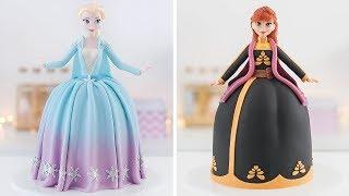 FROZEN 2 ❄️ELSA & ANNA Doll Cakes - Tan Dulce