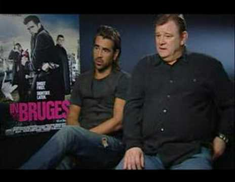 In Bruges interview Colin Farrell Brendan Gleeson poster