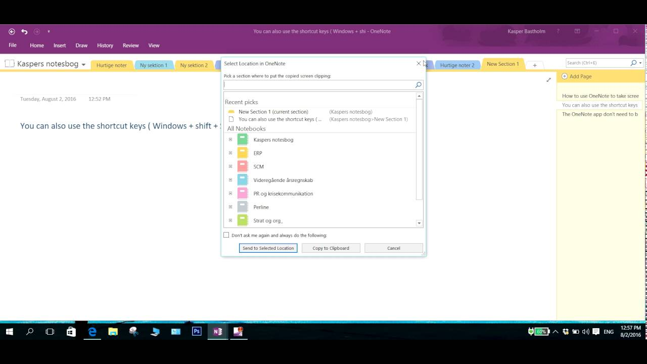 How to take a screenshot in windows 10 using onenote youtube how to take a screenshot in windows 10 using onenote ccuart