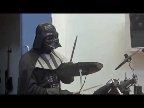 Darth Vader plays Power Ballad drums in a Kids School Assembly