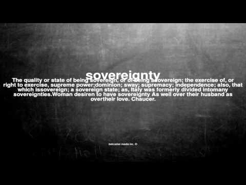 What does sovereignty mean