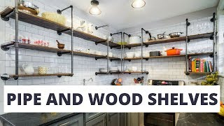 Pipe and Wood Shelves Decorating Ideas