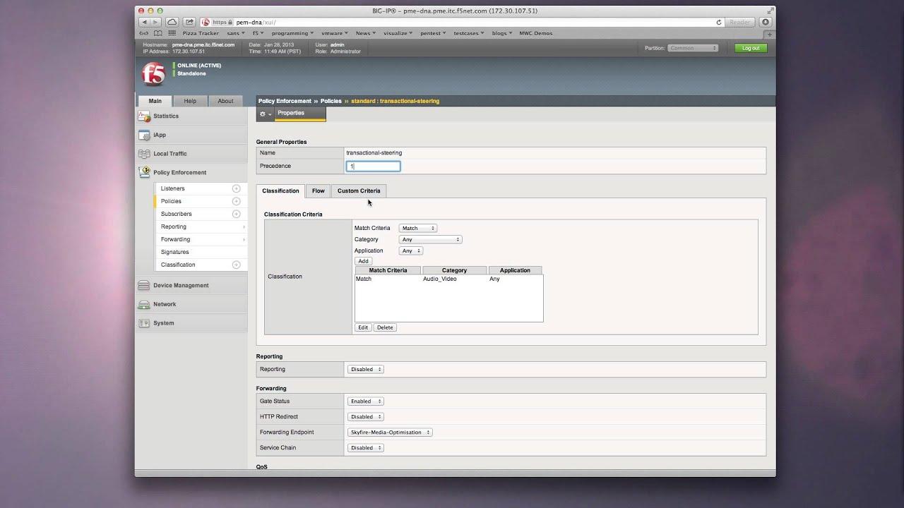 BIG-IP PEM Intelligent Service Chaining Demo