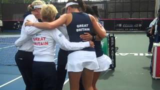 Celebrating victory - the Aegon GB Fed Cup Team