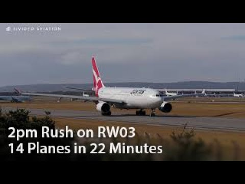 Intense 22 minute 2pm rush with ATC. 14 planes on RW03 at Perth Airport.