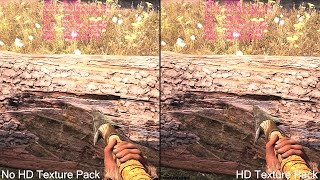 Far Cry Primal HD Texture Pack Vs No Texture Pack Graphics Comparison