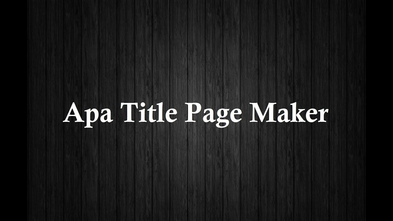 apa title page maker