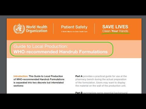 Как сделать антисептик для рук. Рецептура, рекомендованная  Всемирной организацией здоровья ( WHO ).