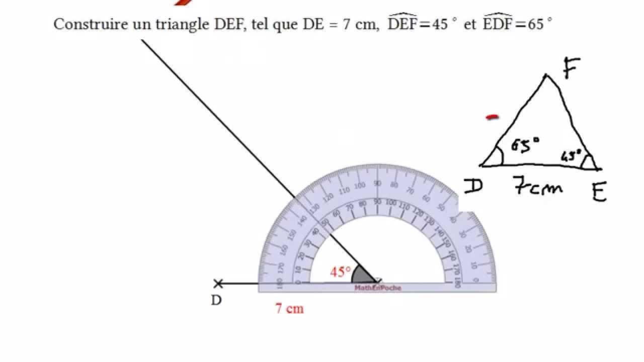 Construire un triangle partir de deux mesures d 39 angle - Rapporteur d angle ...
