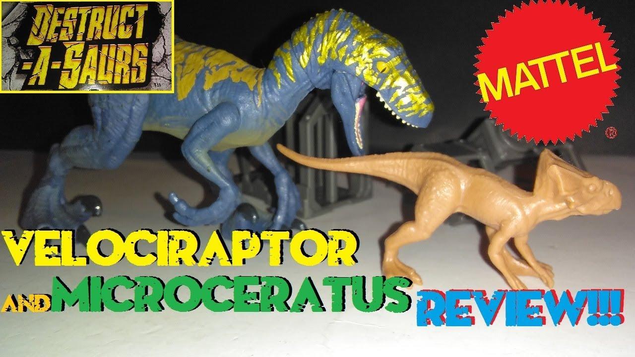 Jurassic World Velociraptor Microceratus Destruct-A-Saurs Play Set Mattel New!