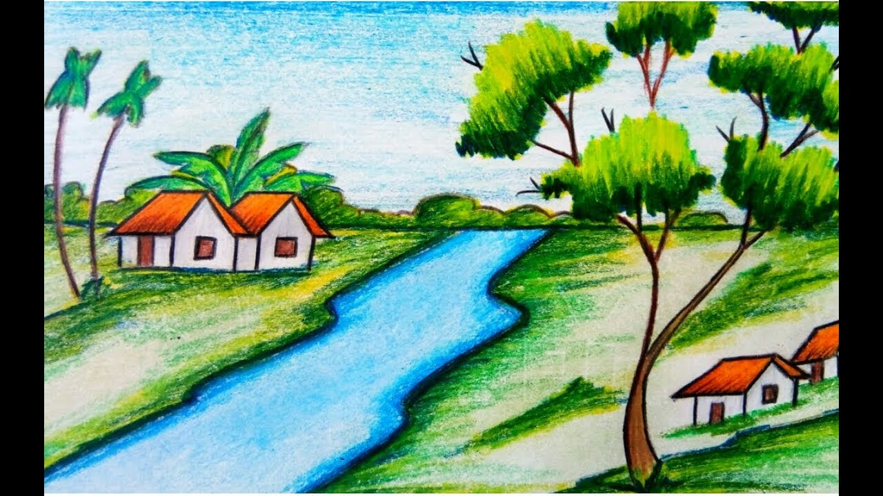 How To Draw A Village Scenery For Kids Step By Step Easy