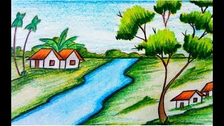 nature drawing sketch scenery draw drawings village children simple easy natural sketches explore paintingvalley beginners landscape step
