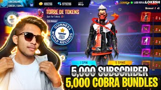 New World Record 5,000 Subscriber Account 5,000 Legendary Cobra Bundle Giveaway Garena Free Fire