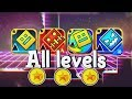 Every Geometry Dash Levels! ALL COINS! (GD, Meltdown, World, Subzero)
