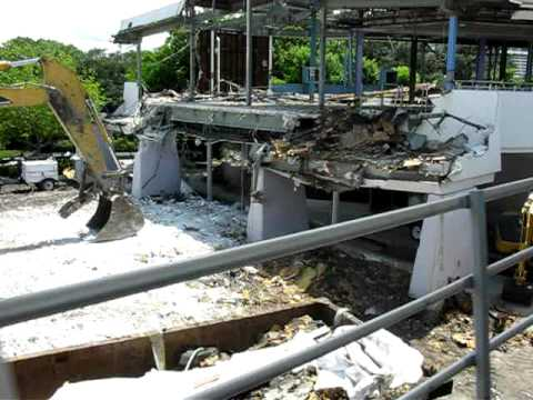 Glide-by Of The Skyway Station In Tomorrowland, Under Demolition