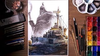 World of Warships : 충무함 DD-91 - Watercolor painting | drawholic