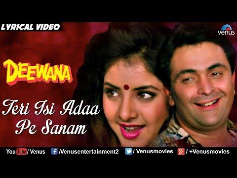 Teri Isi Ada Pe Sanam - Lyrical Video | Best Bollywood Romantic Songs | Rishi Kapoor, Divya Bharti |