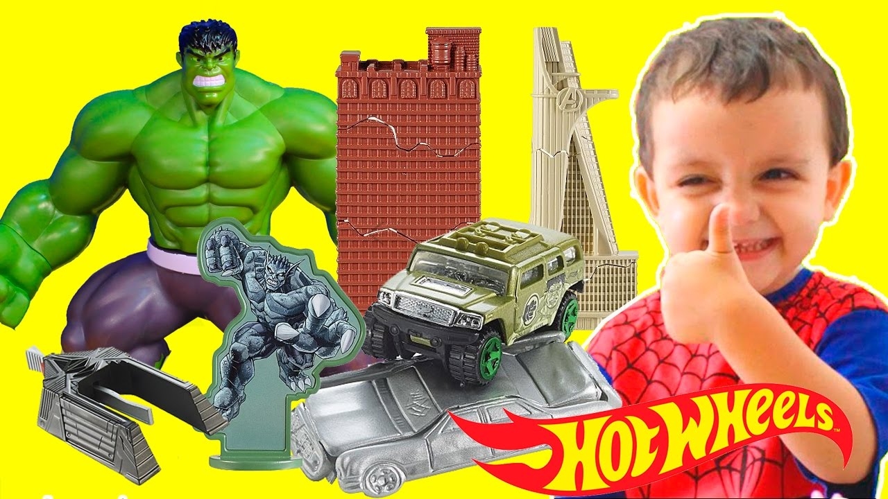 ever popular factory authentic shop HOT WHEELS HULK ATAQUE ESMAGADOR SMASH ATTACK Marvel Avengers Cars