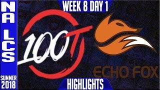Video 100 vs FOX Highlights | NA LCS Summer 2018 Week 8 Day 1 | 100 Thieves vs Echo Fox download MP3, 3GP, MP4, WEBM, AVI, FLV Agustus 2018