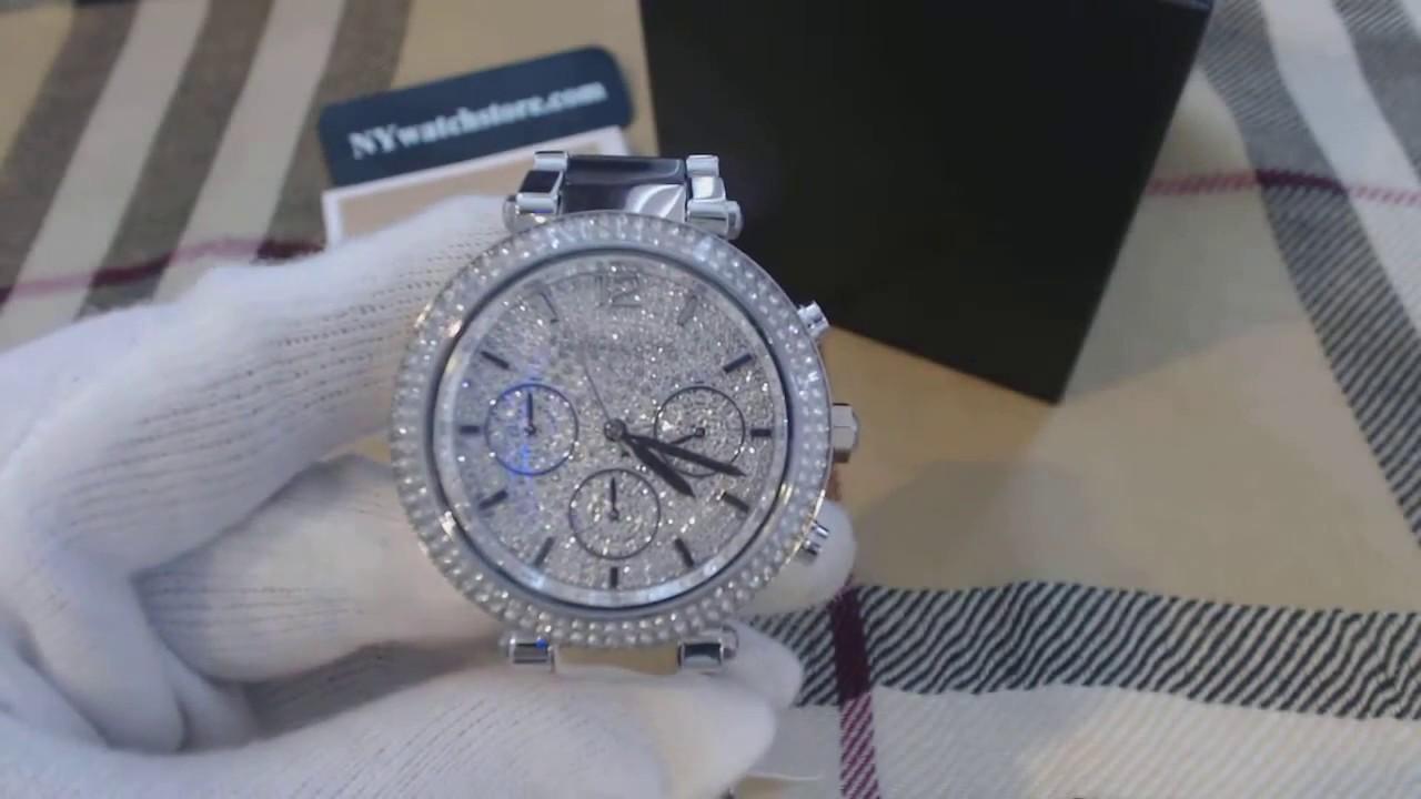 352782934a00 Women s Michael Kors Parker Chronograph Glitz Watch MK6284 - YouTube