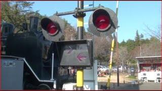 青梅鉄道公園 踏み切りボタン&国鉄9600形蒸気機関車