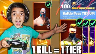 1 KILL = 1 SEASON 5 BATTLE PASS TIER CHALLENGE WITH MY 5 YEAR OLD LITTLE BROTHER! | FORTNITE TIERS