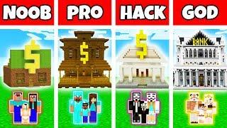 Minecraft: FAMILY BANK BUILD CHALLENGE - NOOB vs PRO vs HACKER vs GOD in Minecraft