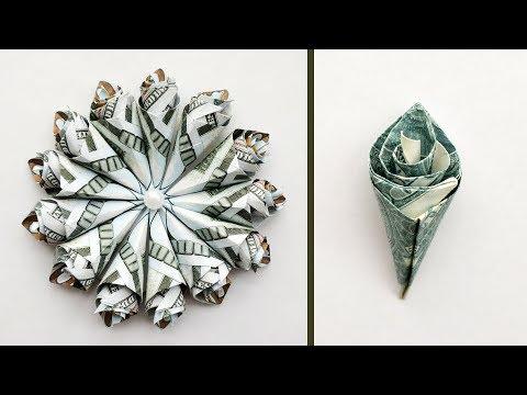 My Money WRAPPED ROSE | Dollar Flower Bouquet Origami Tutorial DIY (NProkuda)