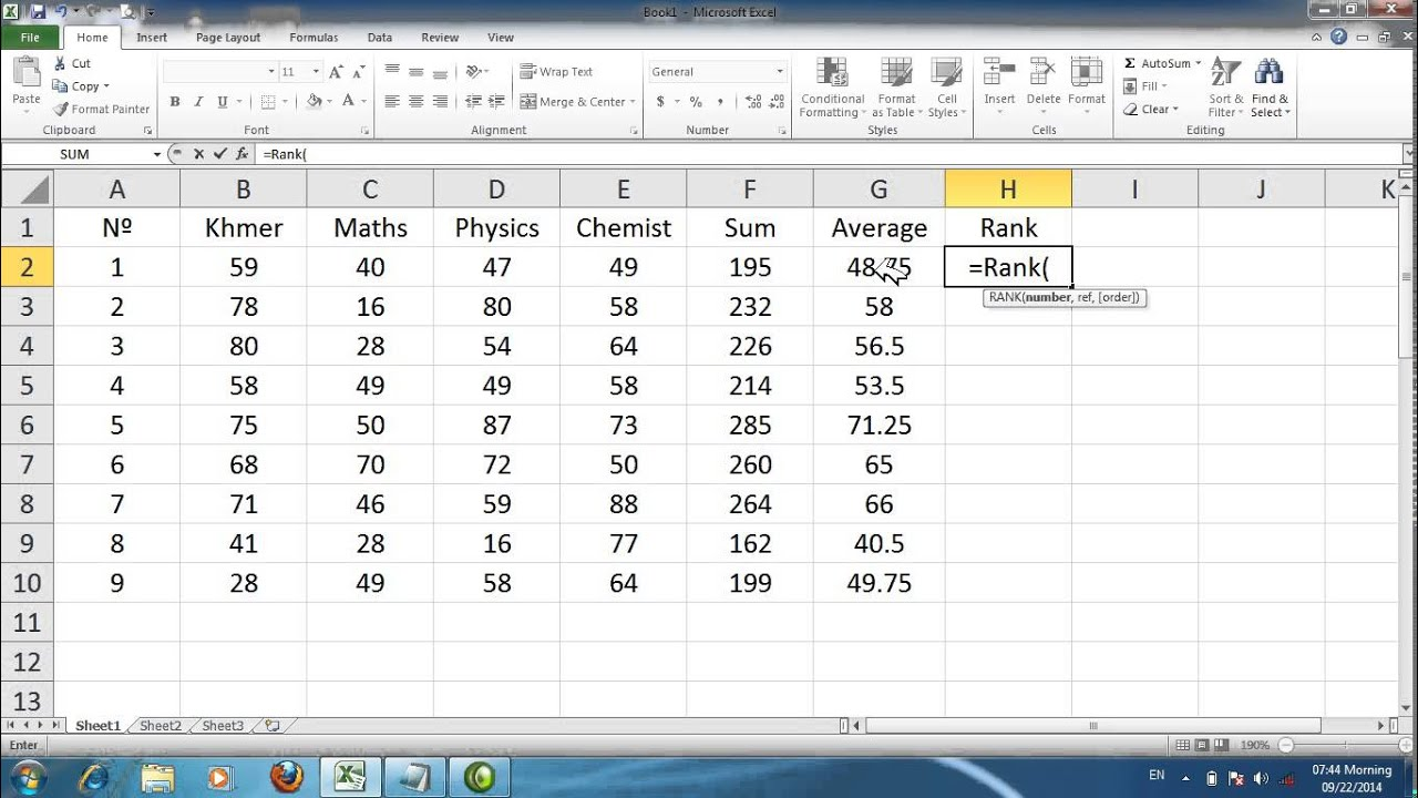 How to use Rank Formula in excel [khmer] - YouTube