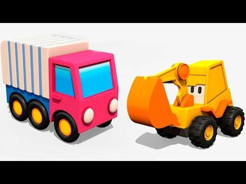 Max a escavadeira. Um caminhão de lixo. Desenhos animados