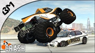 BeamNG Drive - MONSTER TRUCK VS POLICE - Course poursuite - Fast & Furious - Crash Test