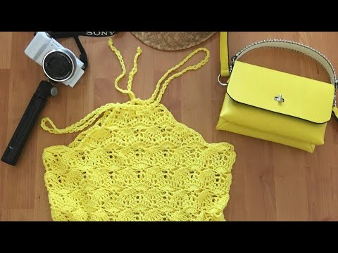 Iedereen kan haken© How to #crochet a Yellow #Haltertop #Melody DIY diff languages subtitled