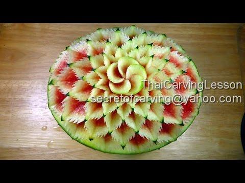 Watermelon Carving Design 1,Lessons 3 for Advance, แกะสลักแตงโมลายผสม แบบที่1