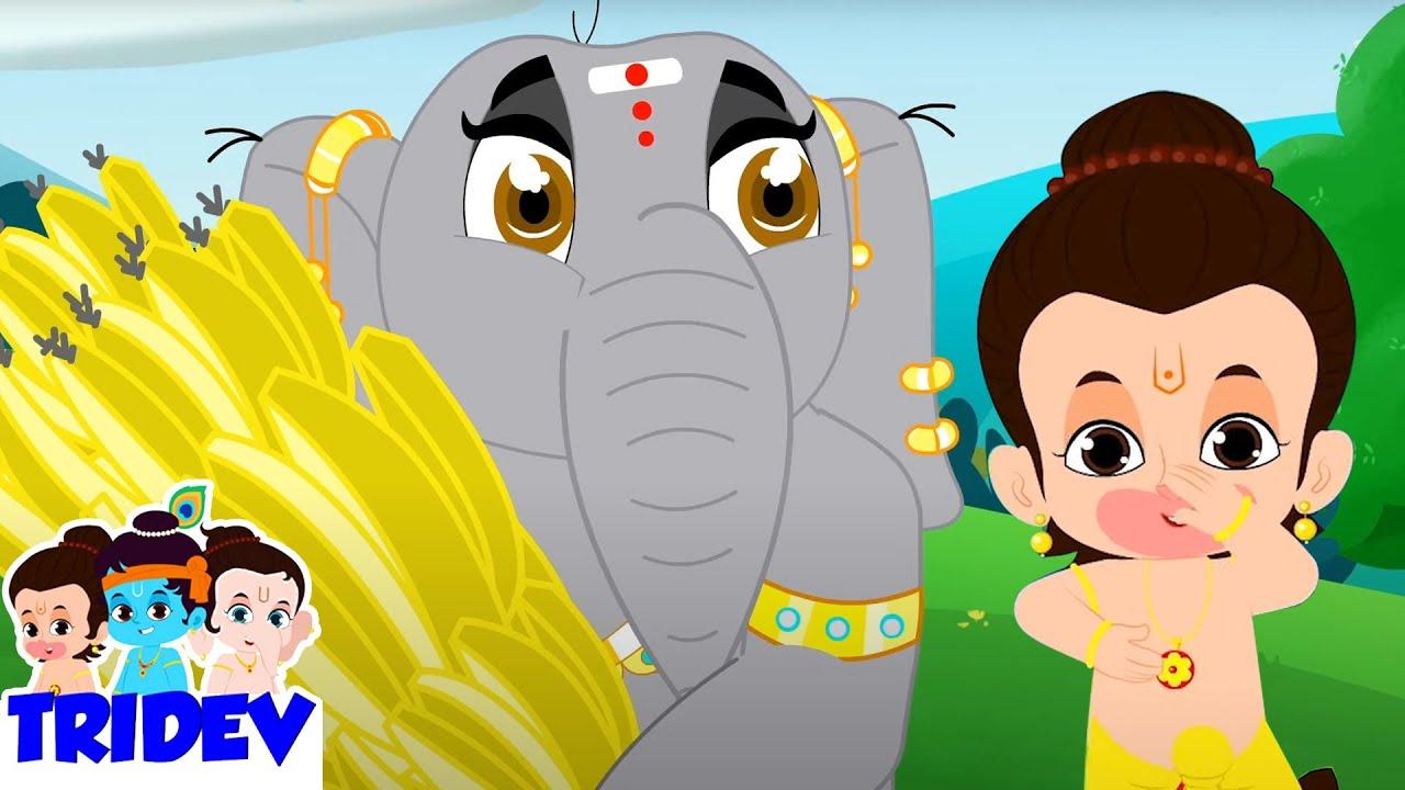 Hathi Raja   हाथी राजा   Hindi Rhymes For Kids   Tridev Balgeet   Bandar Mama Pahan Pajama Aloo Bola