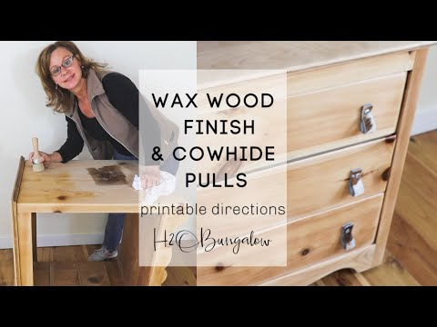 Waxed Wood Finish Dresser with Cowhide Pulls