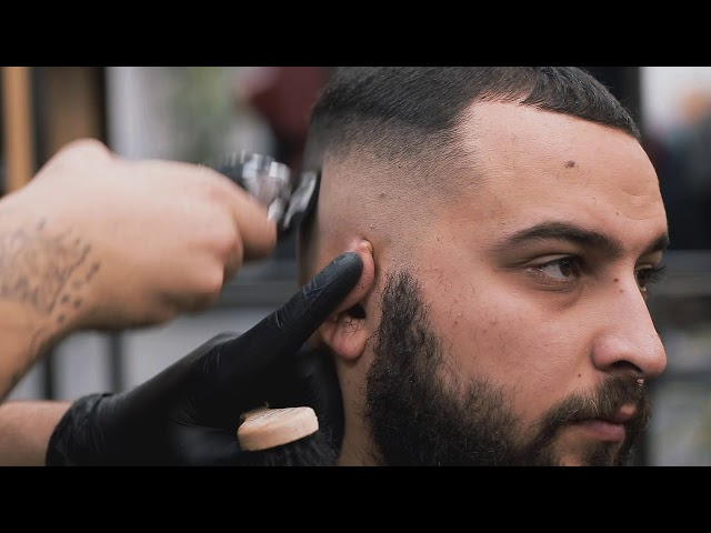 Bald Fade Haircut with Beard Lineup by Balázs