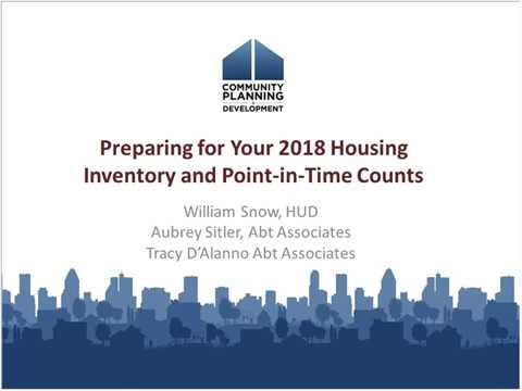Preparing for Your 2018 Housing Inventory and Point-in-Time Counts - 11/28/2017