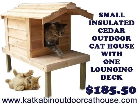 Small Insulated Cedar Outdoor Cat House With One Lounging