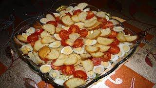 Салат Цезарь, Новогодний #Рецепты #Салат Цезарь с курицей, праздничный салат