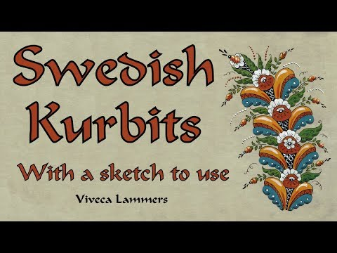 Folk Art from Sweden. How to paint a Dala Kurbits 1.  With Free Drawing to copy.