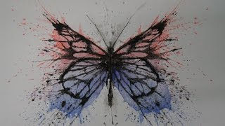 Butterfly splatter art -Speed drawing-