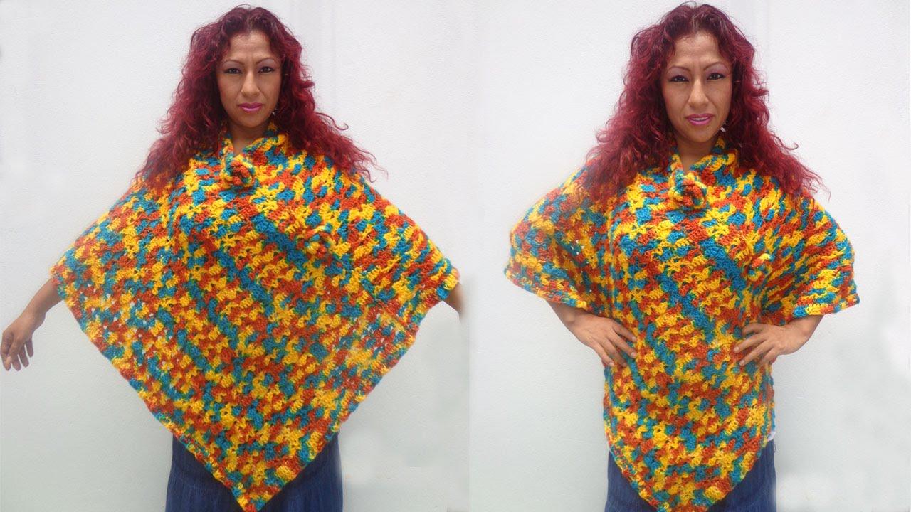 1 176 Poncho Tejido A Crochet Paso A Paso Youtube