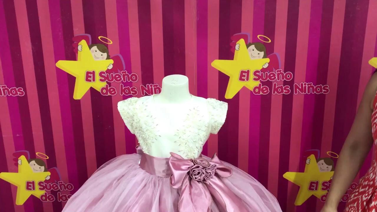 Vestido de niña palo de rosa Mod. NZ-307 - YouTube