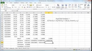 Graphing the efficient frontier for a two-stock portfolio in Excel