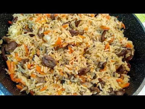 Рис в мультиварке с куриными сердечками