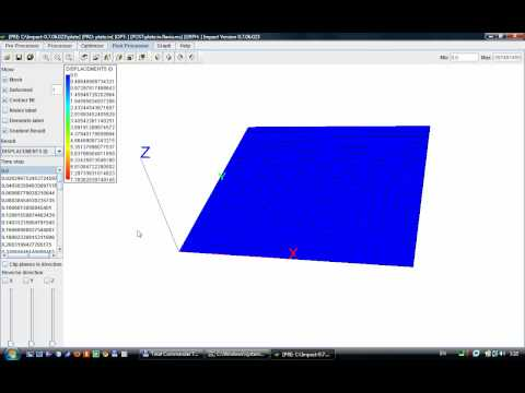 Impact -- Dynamic Finite Element Program Suite. Tutorial 001 (Simple model of plate)