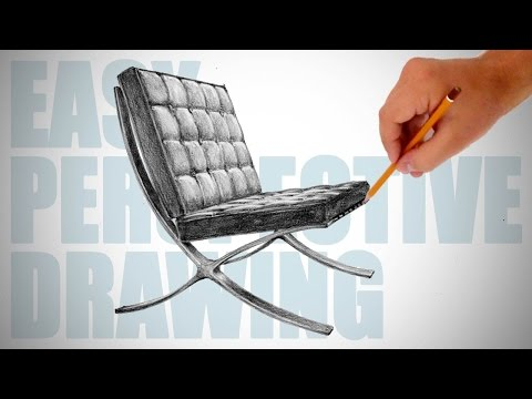 How to draw Barcelona chair - Easy Perspective Drawing 16