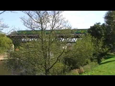 Train Crossing Worcester River Severn Railway Bridge, Worcester, England 9th September 2009