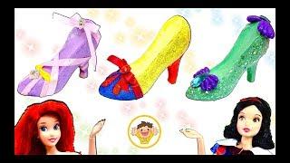 ディズニープリンセスのキラキラ靴屋さん❤️白雪姫、アリエル、ラプンツェルのハイヒールをシンデレラがねんどで手作り⭐おもちゃ アニメ Disney Princess High heels