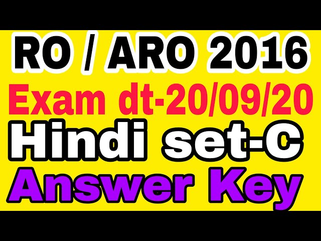 RO/ARO 20/09/2020 हिंदी set -C Answer Key // Hindi Question paper Answer//Hindi Question Analysis